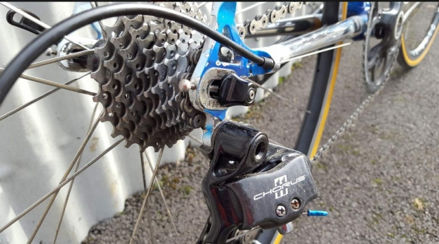 Campagnolo Chrous and Super Record parts fitted to the Colnago Tecnos