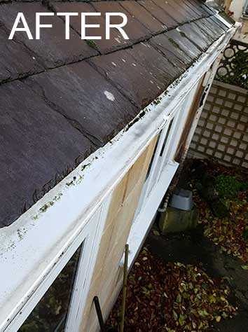 Gutter cleaning after Bath