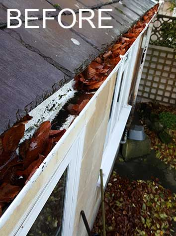 before gutter cleaning in Bath